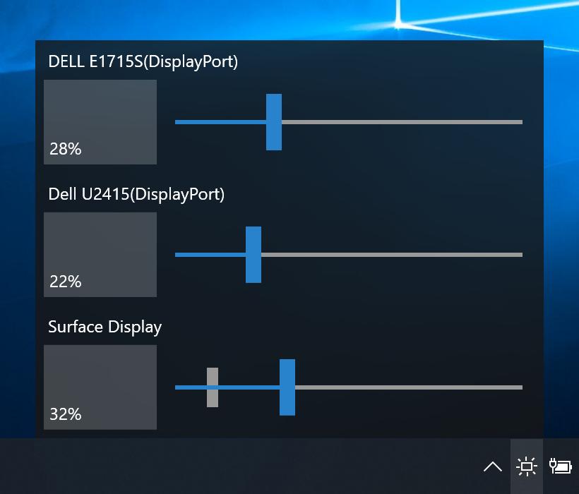 Управление яркостью нескольких дисплеев в Windows