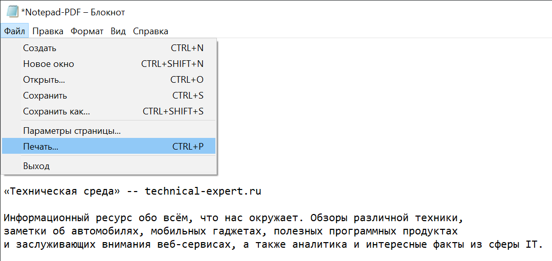 По секрету всему свету: как при помощи Блокнота Windows сохранить текстовый документ в формате PDF